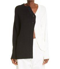 women's y's by yohji yamamoto black & white colorblock asymmetrical cardigan, size 2 - black