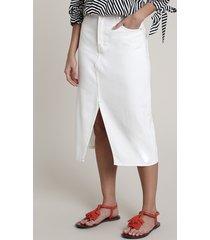 saia de sarja feminina salinas midi com fenda off white