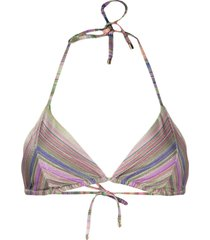 pq swim geometric-print bikini top - neutrals