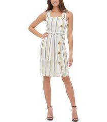 tommy hilfiger millennium striped side-button sheath dress