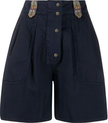 etro embroidered wide-leg shorts - blue