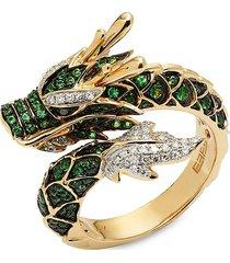 effy women's 14k yellow gold, black & white diamond & tsavorite dragon ring/size 7 - size 7