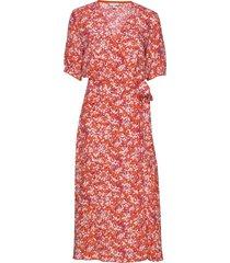 leonora wrap dress ss knälång klänning orange tommy hilfiger