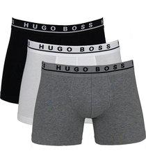 hugo boss boxershort cyclist 3-pak grijs-wit-zwart