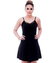 camisola ficalinda de alã§a fina preta com renda guipir preta no decote - preto - feminino - poliamida - dafiti