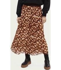 scotch & soda printed recycled polyester-blend midi skirt