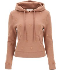 see by chloé hoodie with monogram embroidery