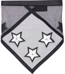 swarovski crystal jewelled star patch bandana-style leather and tulle scarf