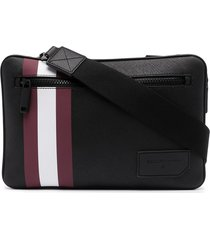 bally leather double messenger bag - black