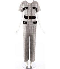 gucci black white checked wool velvet belted jumpsuit black/white sz: s