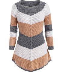 plus size colorblock raglan sleeve sweater