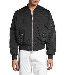 distressed full-zip bomber jacket
