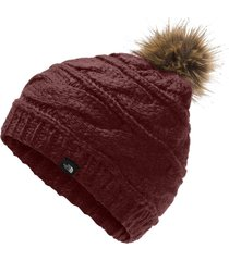 gorro the north face triple cable fur pom vinho