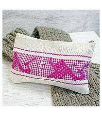 cotton cosmetic bag, 'fuchsia life' (mexico)