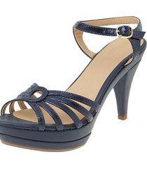sandalia de tiras cuero azul versilia sorany
