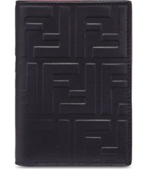 fendi ff embossed logo vertical wallet - black