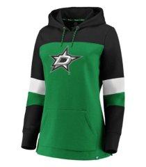 majestic dallas stars women's colorblocked fleece sweatshirt