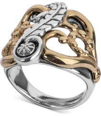 american west two-tone fancy openwork ring in sterling silver & brass