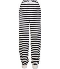 philipp plein man white and black mariner cashmere jacquard trousers
