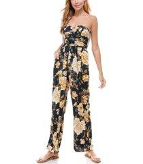 as u wish juniors' strapless floral jumpsuit