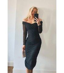 off shoulder ruched mesh bodycon midaxi dress, black