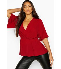 angel sleeve peplum blouse, wine