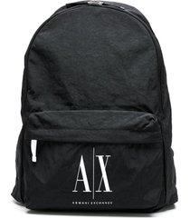 armani exchange creased-effect logo backpack - black