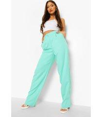 mix & match felle broek met rechte pijpen, turquoise