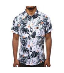 camisa camaleão urbano folhagem tropical masculina