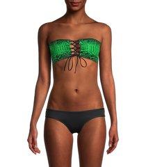 peixoto women's lala bandeau bikini top - yoshi snake - size xs