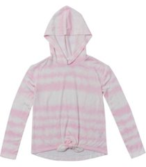 big girls long sleeve tie front hooded snit top