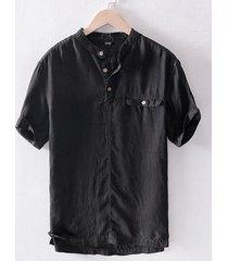 incerun jersey de manga corta de lino de verano de estilo chino para hombres camisa