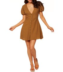 women's l space sabrina puff sleeve cover-up minidress, size x-large - brown
