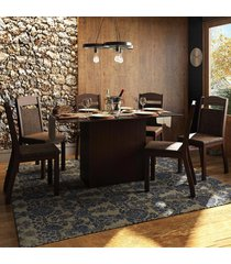 mesa de jantar 6 lugares atlanta marrom/preto - pnr móveis