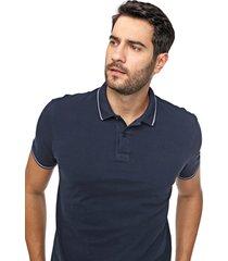 camisa polo forum reta frisos azul-marinho