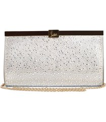 christian louboutin small palmette crystal embellished clutch - metallic