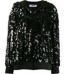 msgm sequinned logo hoodie - black