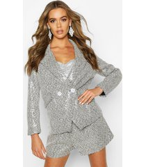 sequin tweed double breasted blazer, black