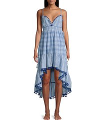 tessora women's nina high-low dress - chambray - size m