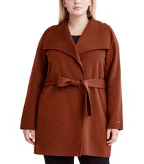 tahari plus size ella double face wrap coat, created for macy's