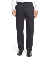 men's big & tall nordstrom men's shop smartcare(tm) classic supima cotton flat front straight leg dress pants, size 44 x 30 - black