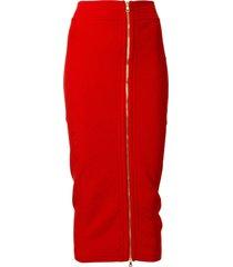 balmain diamond knit fitted skirt - red