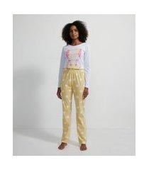 pijama longo em viscolycra com estampa hello sunshine | lov | branco | gg