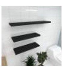 kit 3 prateleiras banheiro em mdf sup. inivisivel preto 2 60x20cm 1 90x20cm modelo pratbnp36