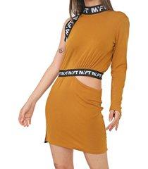 vestido my favorite thing(s) curto recorte bege