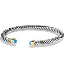 david yurman cable classics bracelet with semiprecious stones & 14k gold, 5mm, size medium in blue topaz at nordstrom