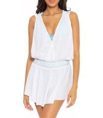 women's soluna getaway smock waist cover-up minidress, size medium - white