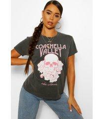 gebleekt coachella rock t-shirt met tekst en schedel, charcoal