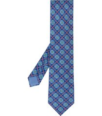 hermès 2000s pre-owned checked and floral-print tie - blue