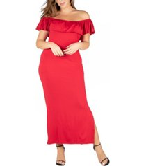 24seven comfort apparel women's plus size ruffle off shoulder maxi dress